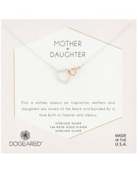 Dogeared - Mother Daughter, Two Linked Heart Mixed Metal Hearts Necklace - Lyst