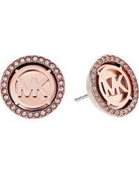 Michael Kors - Mk Monogram Logo Pave Stud Earrings - Lyst