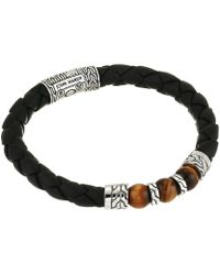 John Hardy - Classic Chain Bracelet On 8 Mm. Black Leather With 8 Mm. Tiger Eye Beads (silver) Bracelet - Lyst