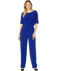 Vince Camuto Ity Jumpsuit W/ Bow At Shoulder - Blue