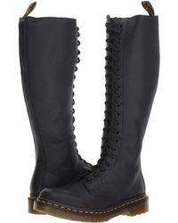 Dr. Martens - 1b60 20-eye Zip Boot (black Virginia) Women's Boots - Lyst