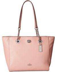 COACH - Pebbled Turnlock Chain Tote 27 (li/black) Tote Handbags - Lyst