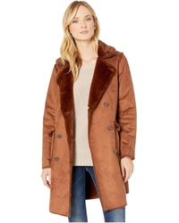Lauren by Ralph Lauren Double Breasted Faux Shearling - Brown