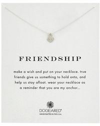 Dogeared - Friendship Anchor Reminder Necklace (sterling Silver) Necklace - Lyst