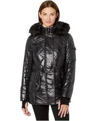 MICHAEL Michael Kors Active Polyfill With Faux Fur Trim Hood A420784tz - Black