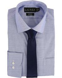 Lauren by Ralph Lauren - Pinpoint Spread Collar Classic Button Down Shirt (blue) Men's Long Sleeve Button Up - Lyst