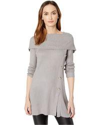 Ivanka Trump - Cowl Pullover Sweater W/ Button Detail (heather Grey) Women's Sweater - Lyst