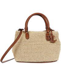 Lauren by Ralph Lauren Crochet Straw Marcy Ii Satchel Mini Handbags - Brown