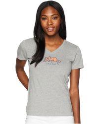 Life Is Good. - Classic Cat Crusher Vee (heather Grey) Women's T Shirt - Lyst
