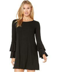Wrangler Western Fashion Dress Long Sleeve Rib Knit Bell Sleeves - Black