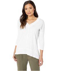 Mod-o-doc - Slub Jersey Drop Shoulder Seamed Tunic With Rib Contrast (white) Women's Clothing - Lyst