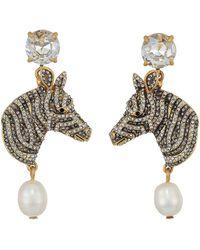 J.Crew Wild Zebra Pearl Drop Earrings - Gray