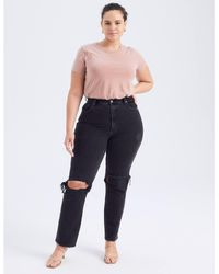 Abercrombie & Fitch Curve Love 90s Ultra High Rise Straight Jeans - Black