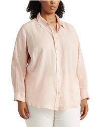 Lauren by Ralph Lauren Plus Size Linen Shirt - Pink