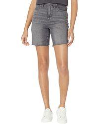 Madewell High-rise Mid Length Denim Shorts In Brayton Wash - Gray