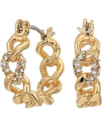 Rebecca Minkoff Pave Link Mini Hoops Earrings - Metallic