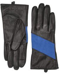 Calvin Klein Spliced Color Block Leather Touch Gloves - Multicolor