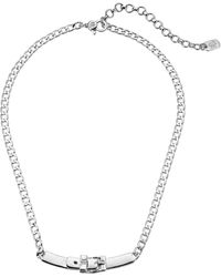 Lauren by Ralph Lauren 16 Buckle Frontal Necklace - Metallic