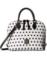 Dooney & Bourke - Carolina Zip Top Satchel (white/black Trim) Satchel Handbags - Lyst