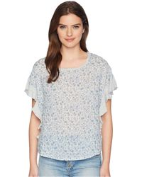 Two By Vince Camuto Floral Woven Front Top - Gray
