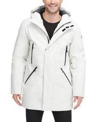 DKNY Water Resistant Hooded Logo Parka Jacket - Multicolor