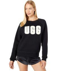 UGG Madeline Fuzzy Logo Crew Neck T-shirt - Black