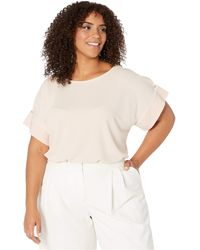 Calvin Klein Plus Size Short Sleeve Top With Detail Sleeve - Pink