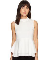 Ivanka Trump - Mock Neck Pullover Peplum Sweater (ivory) Women's Sweater - Lyst