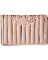 33375e053640 Tory Burch - Fleming Mini Stud Slim Medium Wallet (shell Pink) Wallet  Handbags -