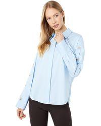 BCBGMAXAZRIA Cotton Button Shirt - Blue