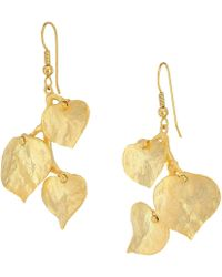Kenneth Jay Lane | Satin Gold 3 Leaf Fish Hook Earrings | Lyst