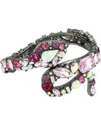 Betsey Johnson - Stone Snake Hinged Bangle Bracelet (pink) Bracelet - Lyst