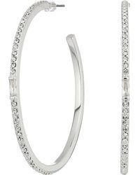 Lauren by Ralph Lauren - Pave & Baguette Stone Hoop Earrings - Lyst