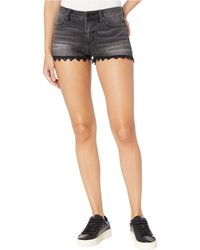 Miss Me Lace Bottom Shorts - Black