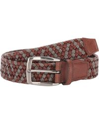 Torino Leather Company 35 Mm Braided Leather Linen Stretch - Brown