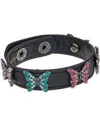 Betsey Johnson - Multi Stone Butterfly Leather Snap Bracelet (multi) Bracelet - Lyst
