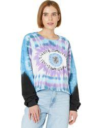 Lauren Moshi Gloria Tie-dye Eye Crop Pullover Sweatshirt - Blue
