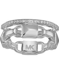 Michael Kors - Precious Metal-plated Sterling Silver Mercer Link Pave Halo Ring - Lyst