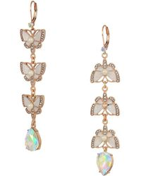 Betsey Johnson - Rose Gold And White Butterfly Linear Non-matching Earrings (white) Earring - Lyst