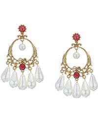 Kenneth Jay Lane - Antique Gold Post Earrings With Ruby Stones And Pearl Drops - Lyst