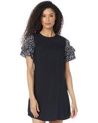 Cece Tiered Ruffle Sleeve Dress W/ Printed Sleeve Dress - Black