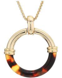 Lauren by Ralph Lauren 30 Circle Pendant Necklace - Brown