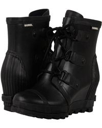 Sorel - Joan Rain Wedge (black/sea Salt) Women's Rain Boots - Lyst