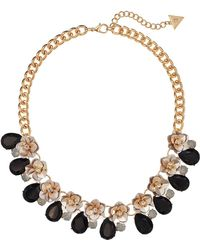 Guess - Floral Motif Collar Necklace With Stone Accents (gold/jet/ivory) Necklace - Lyst