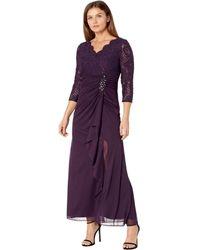 Alex Evenings Petite Long A-line Empire Waist Dress With Surplice Neckline - Purple