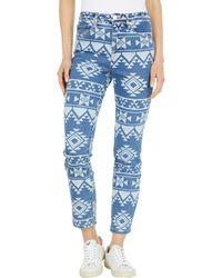 Blank NYC Geometric Aztec Discharge Madison Crop In The High Road - Blue