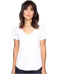 Lilla P Pima Modal Short Sleeve V-neck - White