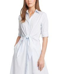 Lauren by Ralph Lauren Striped Cotton Shirtdress - Blue