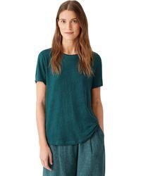 Eileen Fisher Organic Linen Jersey Round Neck Tee Clothing - Blue