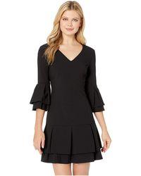 Laundry by Shelli Segal - V-neck Tiered Pleated Dress (black) Women's Dress - Lyst